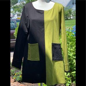 Dress V Lime and Black Dress